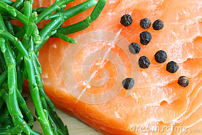 Salmon with samphire