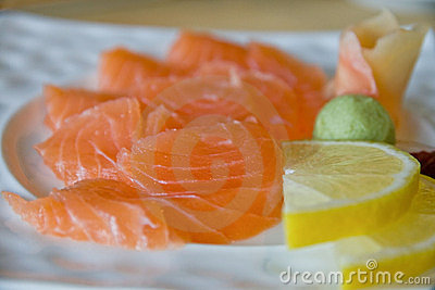 Salmon sashimi close-up