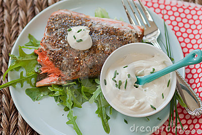 Salmon with sauce