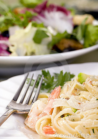 Salmon and Shrimp Fettuccine