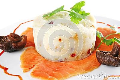 Salmon slice with mash