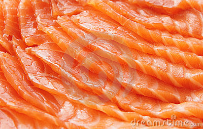 Salmon slices, close-up