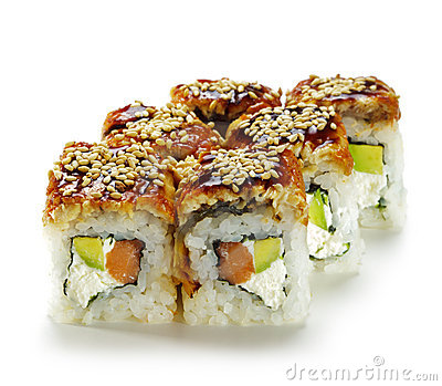 Salmon and Smoked Eel Maki Sushi