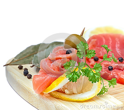 Salmon snack on the wooden board