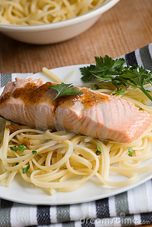 Salmon with spaghetti