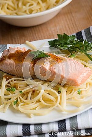 Salmon with spaghetti