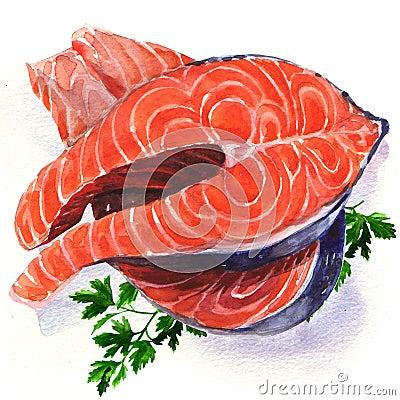 Free Salmon Steak Red Fish Royalty Free Stock Photos - 43405688
