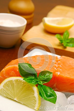 Salmon steak still life