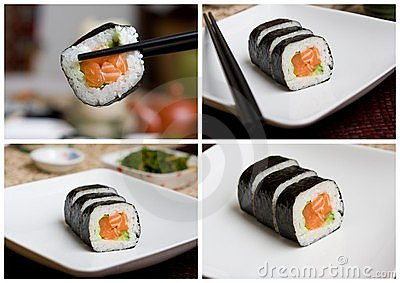Salmon sushi collection