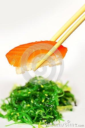 Salmon Sushi and Seaweed
