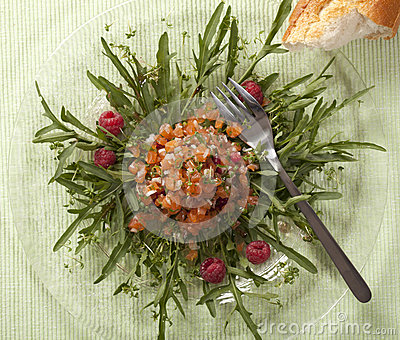 Salmon Tartar with Raspberries and Rucola