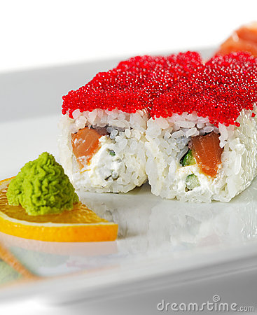 Salmon and Tobiko Maki Sushi