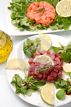 Salmon, tuna and swordfish tartare