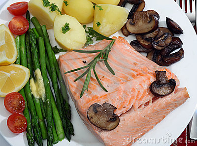 Salmon and vegetables meal