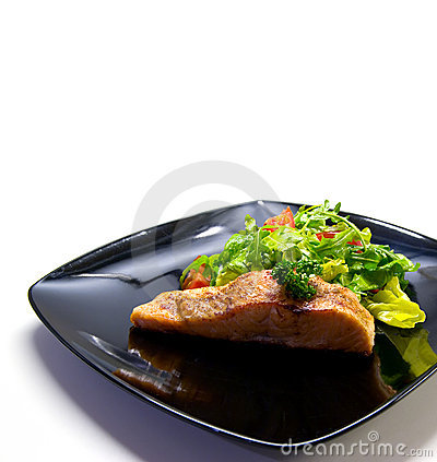 Free Salmon With Salad On Black Plate. Royalty Free Stock Photos - 1785088