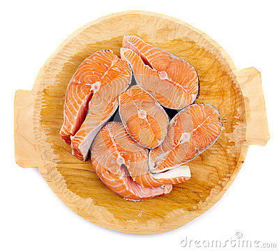 Salmon on wooden board