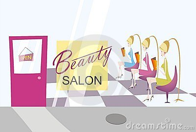 Salón de belleza con tres señoras