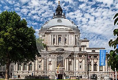 Salão central metodista Westminster Londres Inglaterra Imagem Editorial