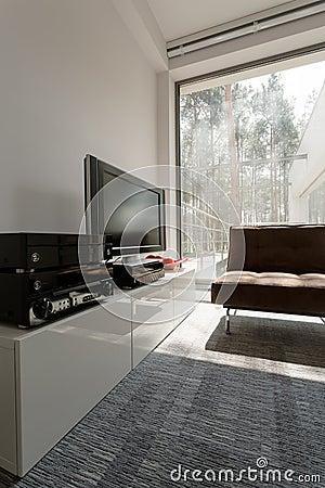 Salon avec la fen tre panoramique photo stock image for La fenetre panoramique