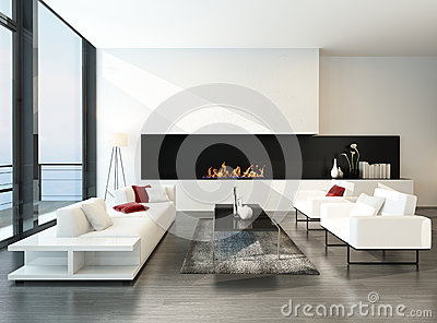 salon desing moderne luxueux avec la chemin e illustration stock image 41129747. Black Bedroom Furniture Sets. Home Design Ideas