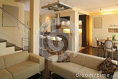 cucina moderna con il salone ed il portico dietro immagine stock ... - Salone Cucina