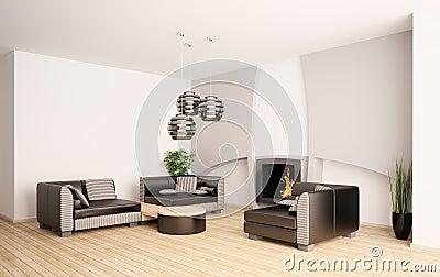 Salone moderno con il camino 3d interno fotografie stock for Tende x saloni moderni