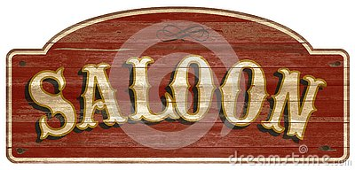 Saloon Wooden Sign Vintage Retro Old West Stock Photo
