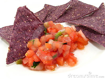 Salsa with Blue Chips