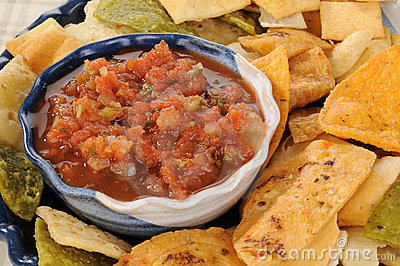 Salsa with vegetable tortilla chips