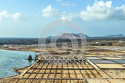 Salt basins in saline de Janubio at Lanzarote