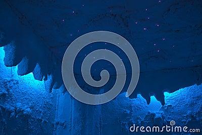Salt cave filing with optical fiber
