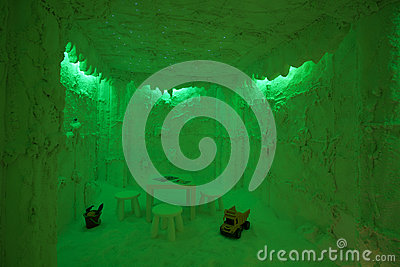 Salt cave room in green