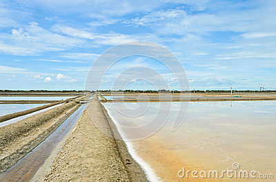 Salt evaporation pond against blue sky