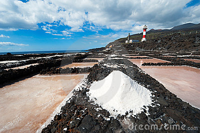 Salt evaporation ponds and Lighthouses, La Palma