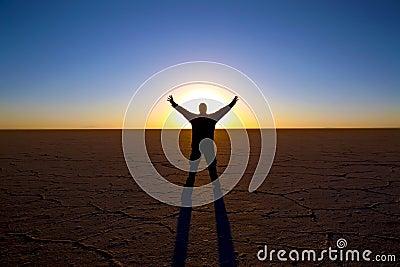 Salt flat sunrise silhouette