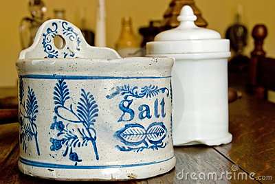 Salt jar in kitchen