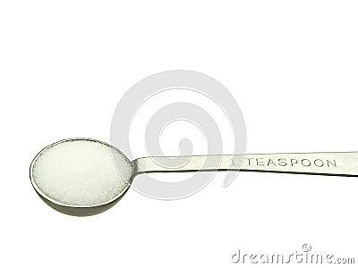 Salt in measuring teaspoon