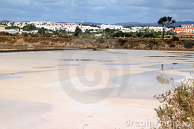 Salt pans near Tavira in the south of Portugal