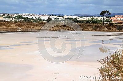 Salt pans near Tavira in the south of Portugal
