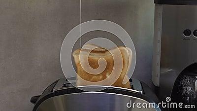 Saltar corado do brinde synchronously do torradeira que atrai com crosta e cheiro vídeos de arquivo