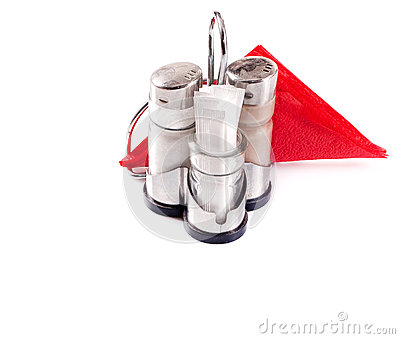 Saltcellar, pepperbox and napkins
