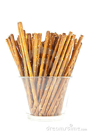 Saltsticks in a glass (with clipping path)