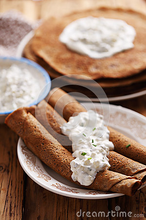 Free Salty Pancakes With Chicken Liver Stock Images - 64914494