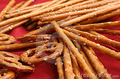 salty pretzel sticks and pretzel for a party