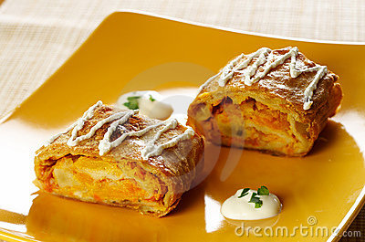 Salty pumpkin strudel