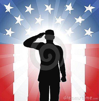Saludo patriótico del soldado