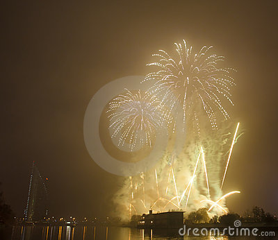 Salute over river Daugava