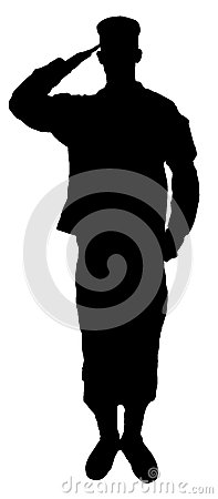 Free Saluting Army Soldiers Silhouette Isolated On Whit Stock Photography - 34810072