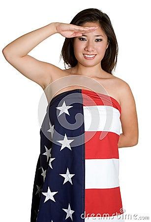 Saluting Flag Woman