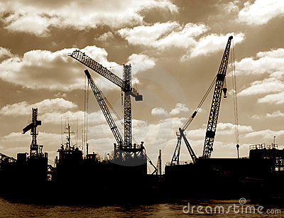 Salvage Boat Cranes in Port Busy Harbor Shipyard